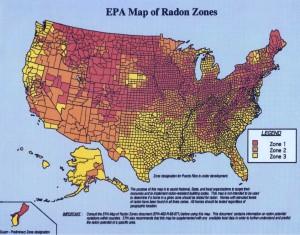 EPA Map of US Radon Zones